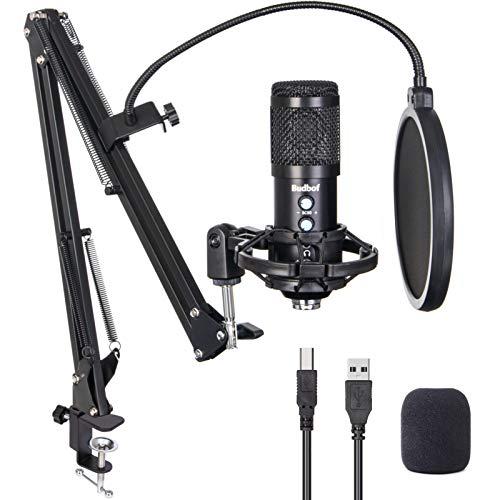 USB Mikrofon für PC Kit, Budbof Kondensator Mikrofon für Gaming, Podcast, Streaming, Studio, YouTube mit Boom Arm Stand Shock Mount und Pop Filter, kompatibel mit Laptop Desktop