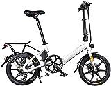 Bici electrica, Adultos bicicleta plegable eléctrica, 250W motor 16 pulgadas marco de aleación de aluminio Frenos de viaje de Ciudad bicicleta eléctrica de 6 velocidades de doble disco 36V batería de