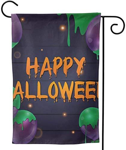 Not Applicable Glückliches Halloween-Banner mit Luftballons auf Einer vertikalen doppelseitigen Frühlings-Sommer-Hof-Außendekoration der dunklen Gartenflagge 12,5 x 18 Zoll