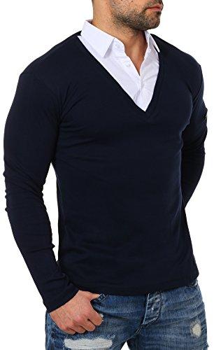 ReRock Herren 2in1 Longsleeve Hemd Kragen Shirt Pullover Langarm mit tiefem V-Ausschnitt einfarbig Slimfit Stretch, Grösse:M, Farbe:Dunkelblau