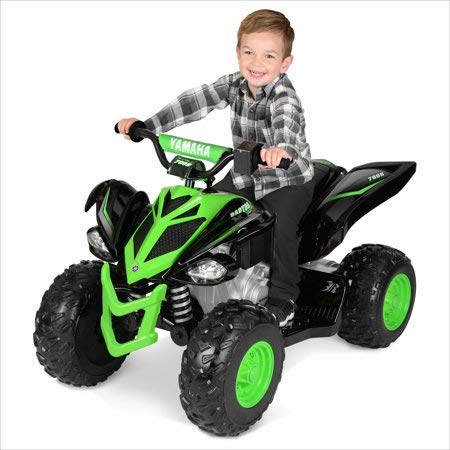 Extra Durable and Safe to Ride 12 Volt Yamaha Raptor Black/Green,Features a Scaled-Down Design of an Adult-Size ATV,Includes Extra Traction Wheels for a Firm Grip,Great Gift for Kids