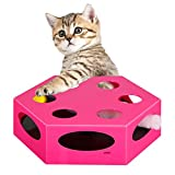 INNAPER Electric Play Interactive Cat Toy,with Worm Tail and Catnip & Plush Mouse, Automatic Rotating Hide and Seek Hunt Toy,Low Noise Automatic Cat Toy,Pet Kitten Fun Excercise,Auto Off Timer