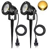 SanGlory 2er Set 7W LED Strahler Warmweiß 3000K mit Erdspieß, 2m Kabel mit Stecker, Led Garten...