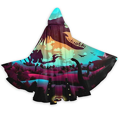 OTTOPT Dinosaurs World Colorful Dinosaur Halloween Hooded Cape Cloak Unisex Full Length Hooded Cloak Party Costume Robe Cosplay Cape with Hat