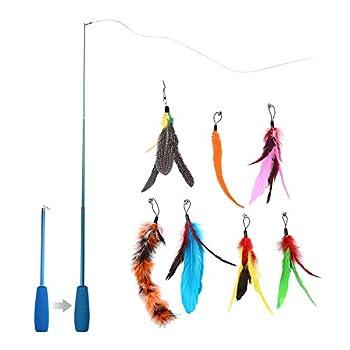Aolvo Plumeau de jeu pour chat - Jouet pour Chats - Bâton avec plumes d'oiseau - Baguette pour amuser votre animal domestique, lui faire faire de l'exercice et l'inciter à chasser