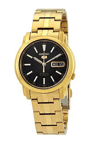 Seiko #SNKL88 - Reloj automático para hombre, esfera negra de acero inoxidable, tono dorado