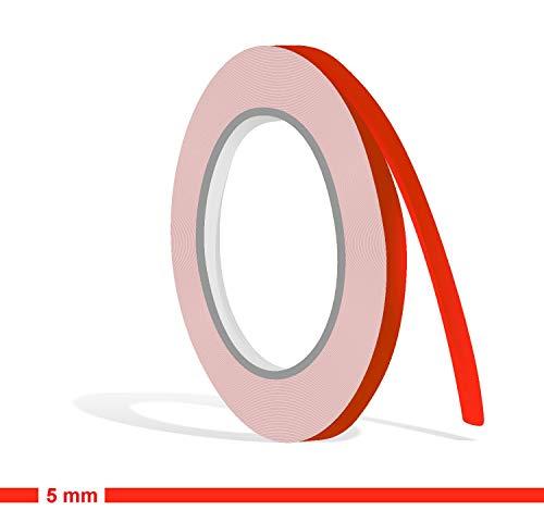 Siviwonder Zierstreifen neon rot Leuchtend Glanz in 5 mm Breite und 10 m Länge Aufkleber Folie für Auto Boot Jetski Modellbau Klebeband Dekorstreifen - fluoreszierend grell rot