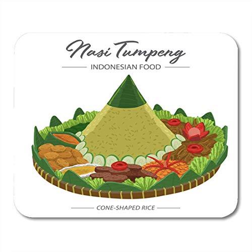 Mauspad Nasi Tumpeng ist ein kegelförmiges Reis-Beilagen-Mousepad für Notebooks, Desktop-Computer, Mausmatten und Büromaterial