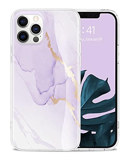 Togestar Marmor Hülle für iPhone 12/ iPhone 12 Pro, [MoonRiver Series 2021 Design] Ultra Dünn Silikon Handyhülle, Flexibel Schutzhülle Marble Hülle, Lila