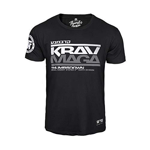 Thumbsdown Pulgares Down Krav Maga Camiseta Israel Combat Sistema MMA. Gimnasio Entrenamiento. Marcial Artes Informal - Negro, XX-Large