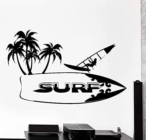 Lamubh Pegatina de Vinilo para Pared de Tabla de Surf para Surf, Amantes del Surf, Dormitorio para Adolescentes, Dormitorio, Escuela, Dormitorio, Pegatina de decoración Familiar, 92x57 cm