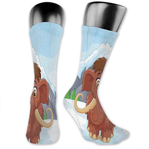 Papalikz Compression Medium Calf Socks,Baby Mammoth In Ice Snowy Mountain Winter Cheerful Animal Prehistoric Design