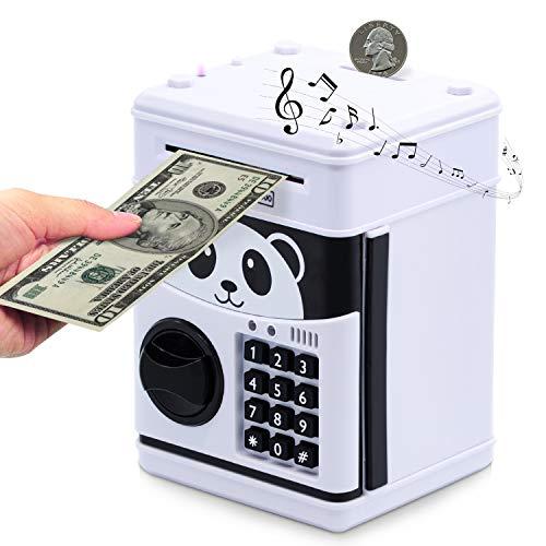 Electronic Piggy Bank, Cartoon Password ATM Savings Banks for Kids, Cute Animated Panda Money Bank for Kids, Auto Scroll Kids Coin Bank, ATM Piggy Bank for Real Money, Coin Bank Kids Fun Toy