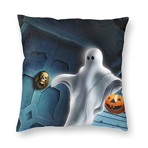 DESIGNS - Funda de cojín para Halloween, color blanco, decoración del hogar, para hombres, mujeres, niños, niñas, sala de estar, dormitorio, sofá de 50 x 50 cm
