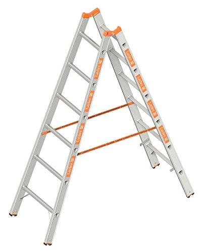 Layher 1039006 Sprossenstehleiter Topic 6, Aluminiumleiter 2x6 Sprossen, beidseitig begehbar, klappbar, Länge 1.85 m