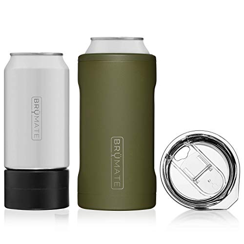 BrüMate HOPSULATOR TRíO 3in1 Stainless Steel Insulated Can Cooler Works With 12 Oz 16 Oz Cans And As A Pint Glass OD Green