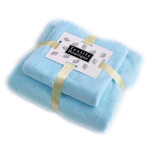 Jingge Toallas de Lana de Coral, 2 Toallas de baño, Textiles para el hogar, pacas, 1 toallitas faciales, 1 Toallas de baño, Ultra Suaves y Muy absorbentes (Azul Claro)
