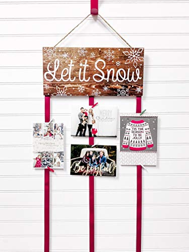 Christmas Card Holder - Let it Snow (Natural)