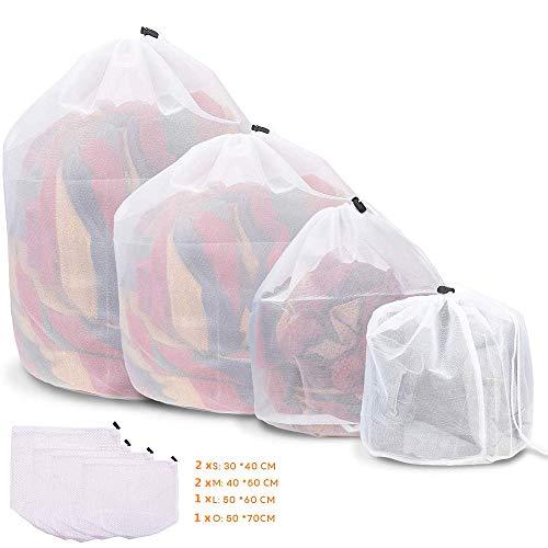6 Stück Wäschesack, Wiederverwendbare Waeschesack Waschmaschine mit Kordelstopper Wäschebeutel Wäschesack für Dessous, Hemden, Socken und Baby Kleidung