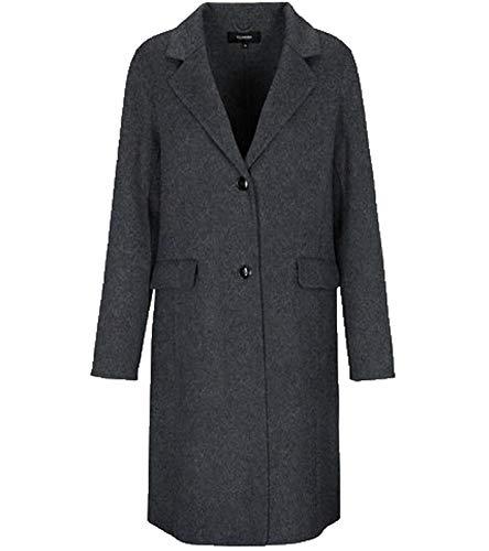 Clarina Woll-Mantel Langer Doubleface-Mantel für Damen mit Seitenschlitzen Freizeit-Jacke Winter-Mantel Anthrazit, Größe:38