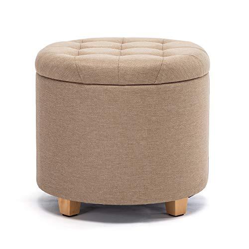 HNNHOME Sitzhocker mit Stauraum, Sitz rund mit Deckel, Sitztruhe, Fußbank Truhen Aufbewahrungsbox, Leinen, 44 L, 45 x 45 x 41 cm, Beige