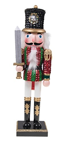 Clever Creations Traditional Wooden Sequin Soldier Nutcracker with Sword Red and Green Uniform | Festive Christmas Decor | 14' Tall Perfect for Shelves and Tables | 100% Wood