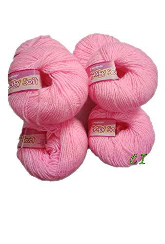 vardhman yarn Baby Soft Wool for Hand Knitting Fingering Crochet Hook (Baby Pink) -Pack of 6