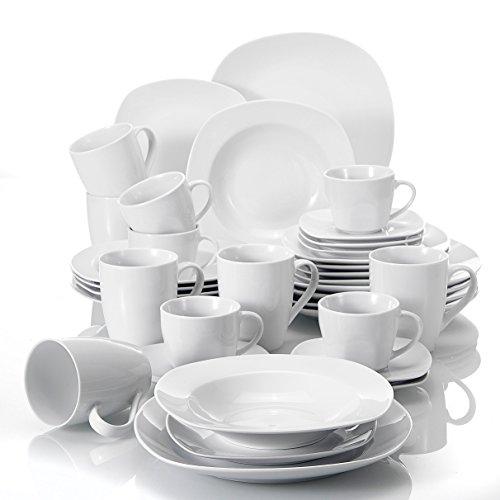 MALACASA, Serie Elisa, 36 TLG. Set Tafelservice aus Porzellan Kombiservice Teller Kaffeetasse Becher für 6 Personen