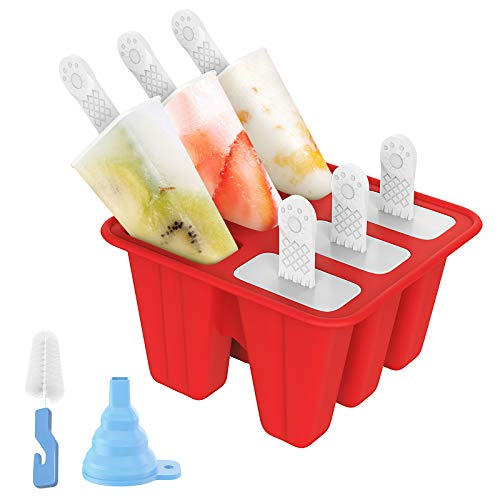 Ozera 6 Pieces Silicone Popsicle Molds Reusable Popsicle Maker Easy Release Ice Pop Molds for Kids with Funnel and Cleaning Brush Red
