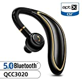Bluetooth Earpiece for Cell Phone, Timmkoo S60 Single Ear Hands-Free Wireless Bluetooth Headset with Mic Apt-X CVC8.0 for iPhone, Samsung, Android, PC, Laptop, Tablet, TVs (Gold)