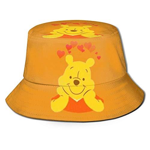 Volver al Polvo Sombrero de Pescador Winnie The Pooh Sombreros de Pescador Sombreros de Pescador de Doble Cara con Estampado Moda de Verano Protector Solar Visera Plegable Gorra Deportiva -ZGX