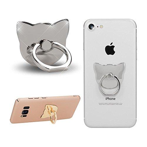 NALIA Fingerhalterung Ring-Halter Katze, Verstellbarer Fingergriff für Einhandbedienung Smartphone Universal-Ständer Multi-Winkel, kompatibel mit iPhone, kompatibel mit Samsung, etc, Farbe:Silber