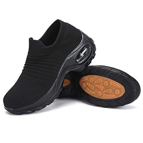 Womens Walking Shoes Mesh No Slip Air Cushion Lady Sock Sneaker Comfortable Platform Work Shoes Slip Resistant Nursing Shoes Black 6.5