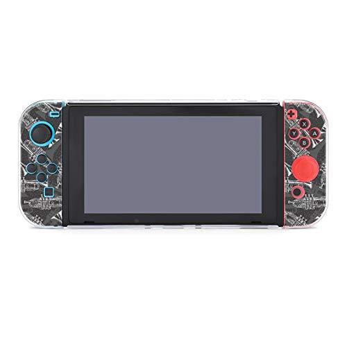 Anti-Scratch PC Schutzhülle für Nintendo Switch kompatibel mit Switch und Joy-Con Controllern Split 5pcs Soft Game Console Case - Schwarz Weiß Sketch Trompeten