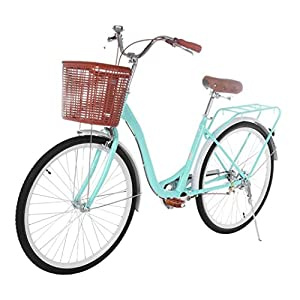 YUT US Inventory - Womens Comfort Bikes Beach Cruiser Bike, 26 Inch Classic Retro Bicycle Road Bikes, Single Speed Bicycle Commuter Bicycle High-Carbon Steel Frame, Front Basket & Bell, Rear Racks