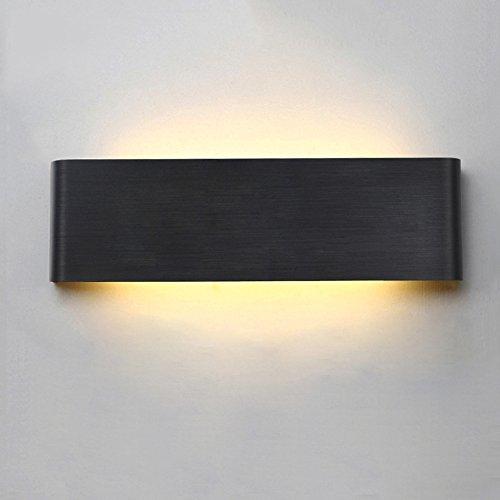 Noire Aluminium Applique Murale Interieur LED Lumière Lampe Murale LED Murale Lumière éclairage Blanc Chaud AC90-260V (14W(40CM))