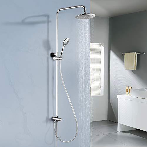 Amzdeal Sistema de ducha, Columna de Ducha de pared, Set de Ducha para baño Acero Inoxidable, incluida ducha de mano con 3 funciones, ducha fija, Barra de Ducha, Dos mangueras de PVC/S-02