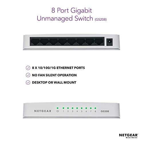 NETGEAR 8-Port Gigabit Ethernet Unmanaged Switch, Desktop, Internet Splitter, Fanless, Plug-and-Play (GS208)