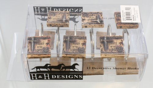 Iron Nail Cross / Horseshoe Faux Weathered Stone Shower Curtain Hooks / Rings 12 Pcs. Inspirational - Trust in the Lord