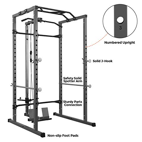 Kicode Power Squat Rack, Power Cage with LAT Pulldown Attachment, Strength Training Exercise Equipment for Home Gym, Weightlifting Bench Press Weight Rack