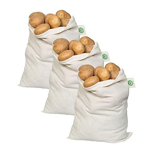 Potato Storage Bags for Pantry - Organic Cotton Potato Sacks - Washable Potato Keeper Potato Holder with Drawstring - Root Vegetable Storage Sacks for Onion Potato Garlic 3 X Large - 14x18