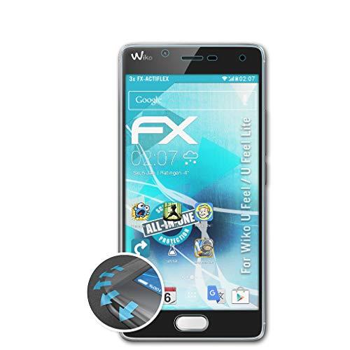 atFolix Schutzfolie kompatibel mit Wiko U Feel/U Feel Lite Folie, ultraklare & Flexible FX Bildschirmschutzfolie (3X)