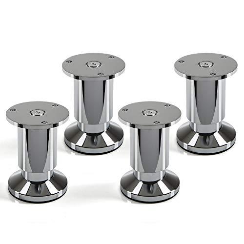 4er Set Möbelfüße verstellbar Schrankbeine Chrom poliert, belastbar bis 250 Kg, Höhe: 80 mm von SO-TECH