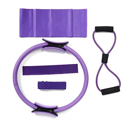 Conjunto de ejercicios de yoga, que incluye anillo de pilates con mango antideslizante, toalla de látex, cuerda expansora de pecho, cinturón elástico, bucle de resistencia, entrenamiento de fuerza 5pc