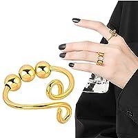YAMI リング 調節可能 ビーズ プレゼント 回転 指輪 人気 フリーサイズ プレゼント レディース シンプル 記念日 ジュエリー オープンリング