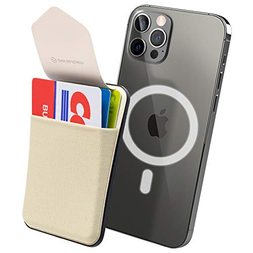 Sinjimoru Magnetic Wallet Compatible with iPhone 12 Magsafe, Phone Wallet Stick on as Detachable Phone Card Holder for Back of Phone. Sinji Pouch M-Flap.Beige