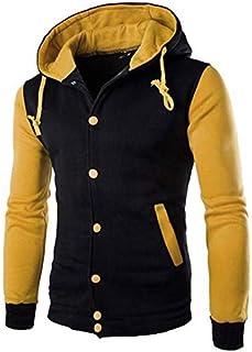 77a1cf497 Jaqueta De Moletom College Criativa Urbana Lisa Com Capuz Amarela -  Masculina