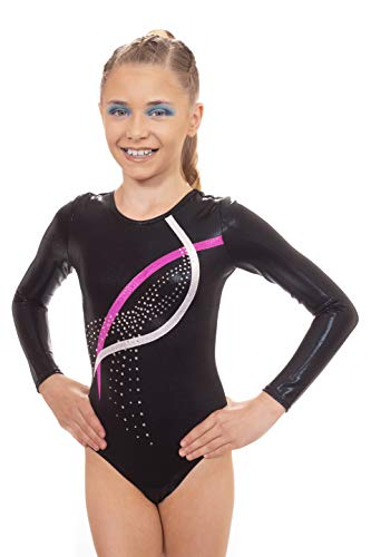 Velocity Dancewear Deluxe Glaze Long Sleeve Gymnastics Leotards for Girls (Black (Long Sleeved), 7-8 Years, 28