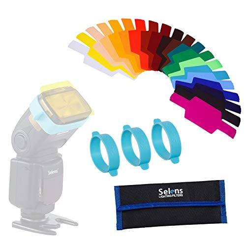 Selens Gel-Blitzfilter, Universal-Beleuchtungs-Gelfilter-Set für Kamera-Blitzgerät, Speedlite mit 3 Gelbändern