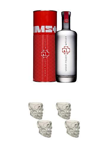 Rammstein Feuer & Wasser Wodka 0,7 Liter + Wodka BIG Totenkopf Shotglas 4 Stück
